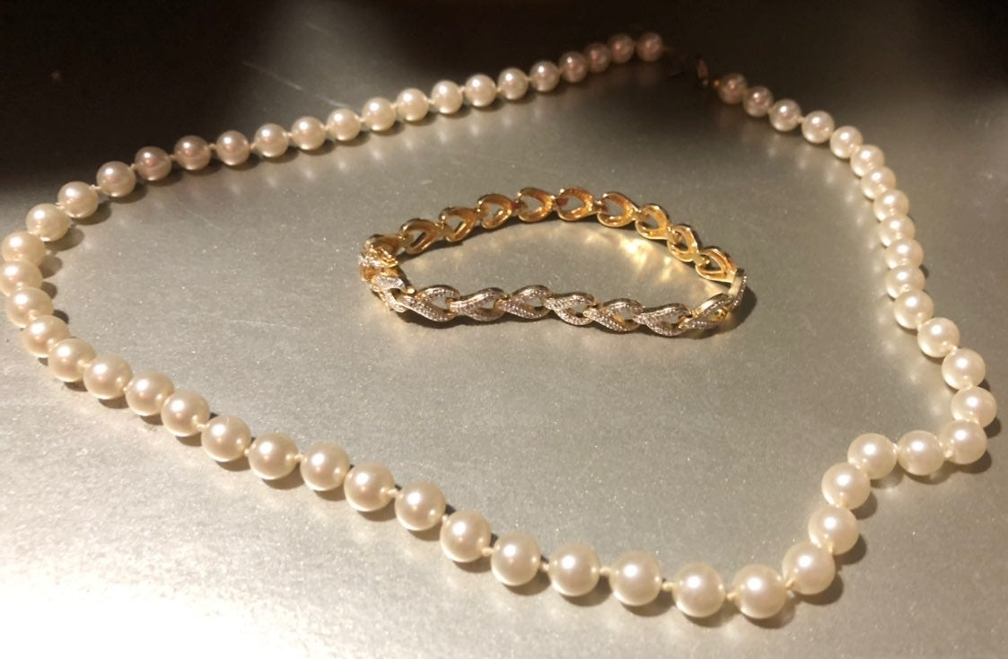 Vtg Bundle 2 Signed Jewelry 14kge Pearls