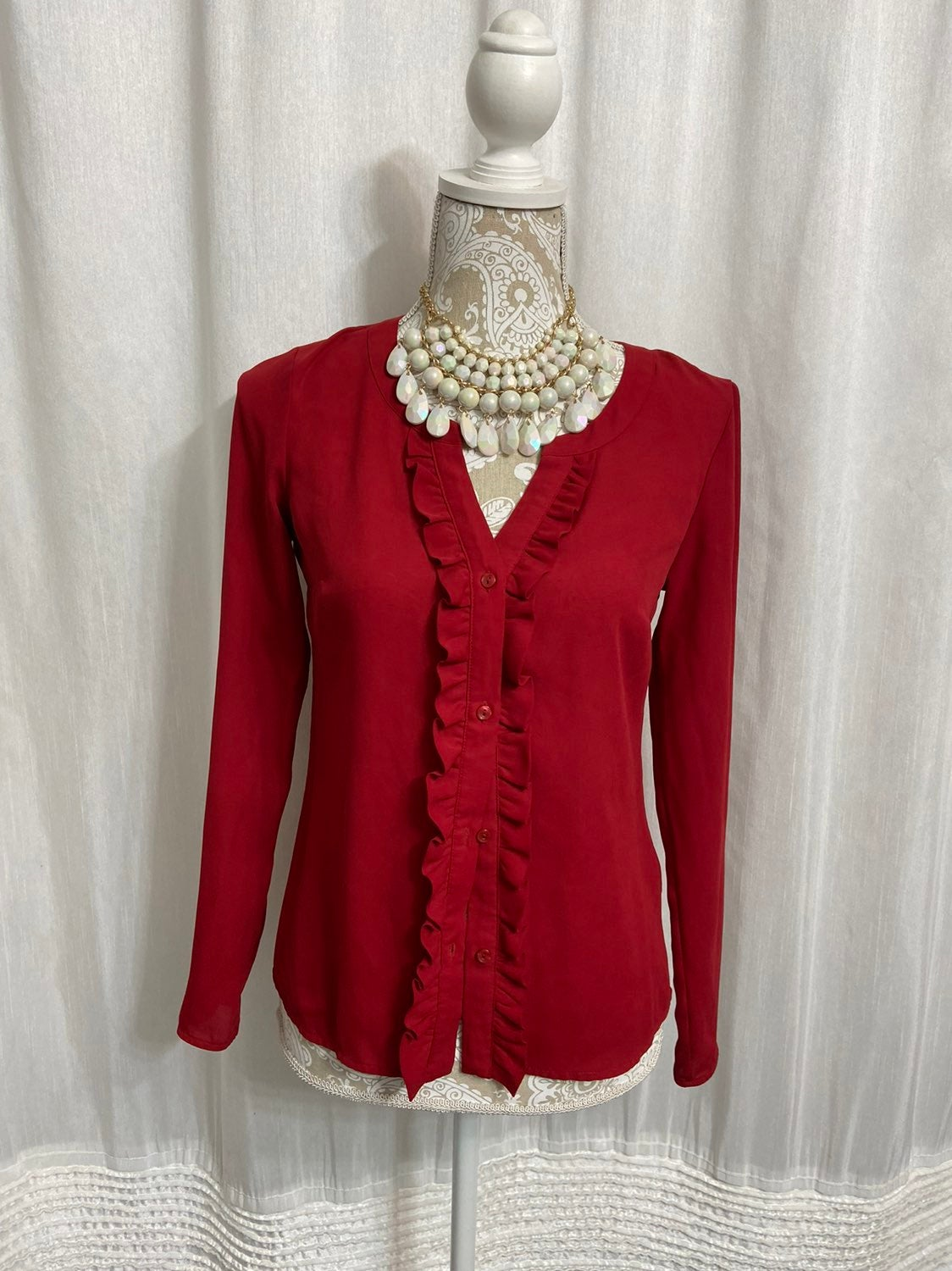 Red long sleeve blouse size xs