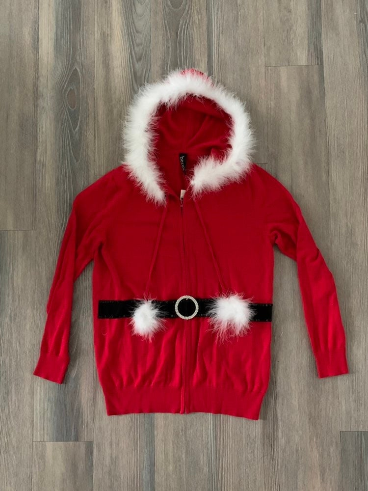 New Mrs. Clause Hooded Full Zip Sweater