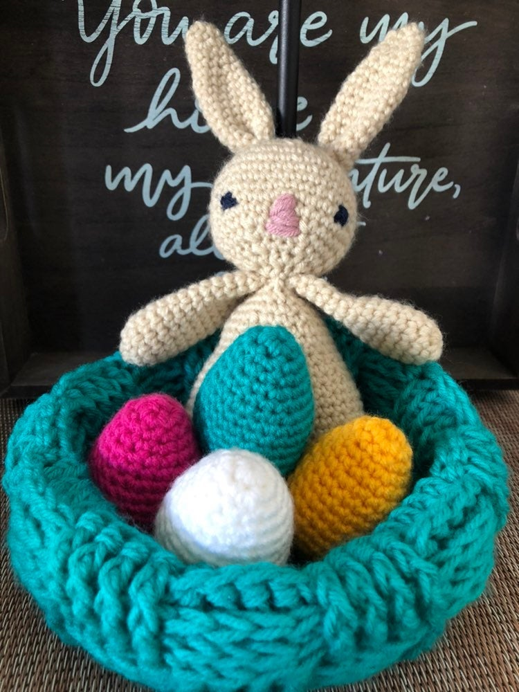 Easter crochet bunny and eggs in basket