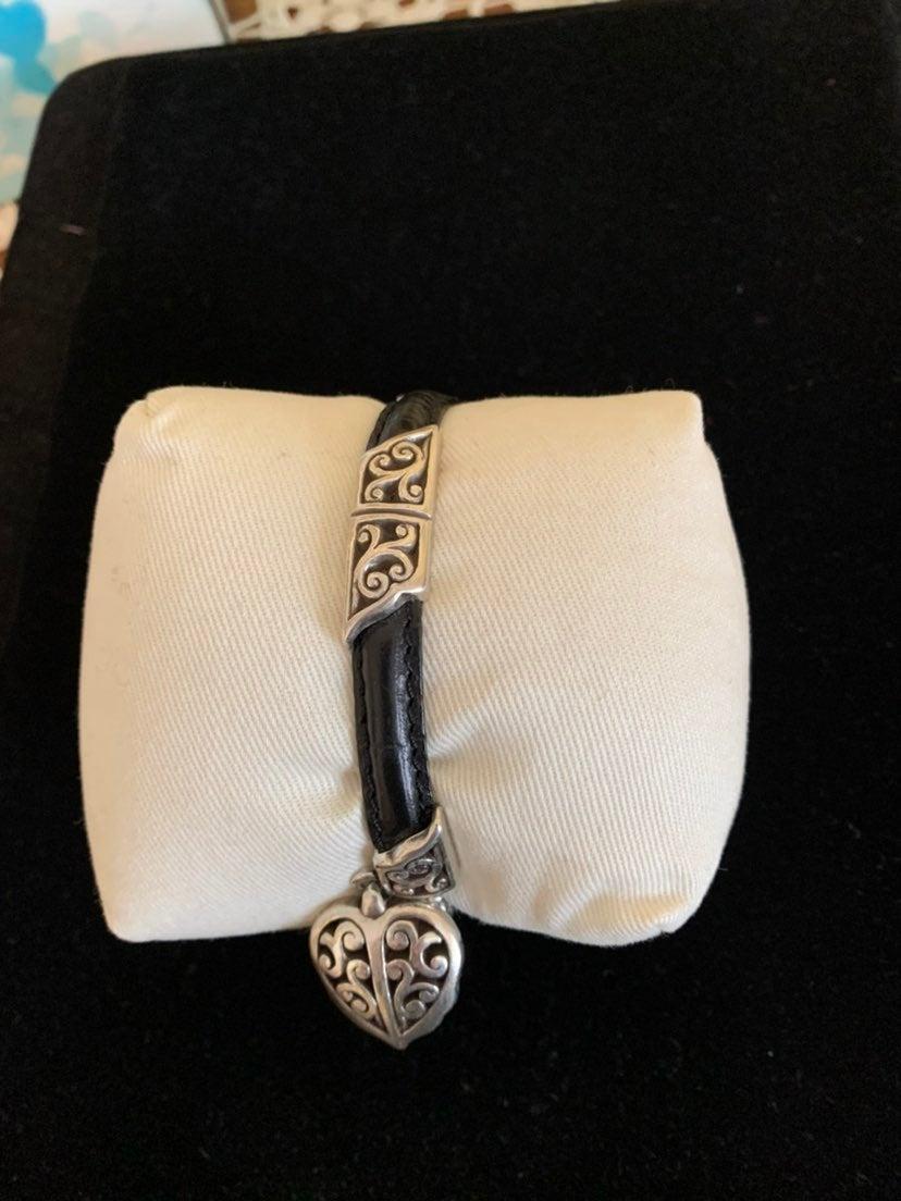 Brighton silver and black leather bracel