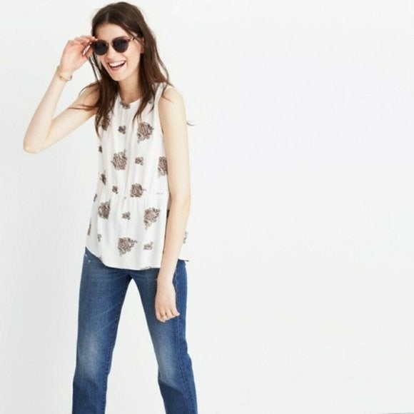 Madewell Ruffle Tank in Floating Paisley