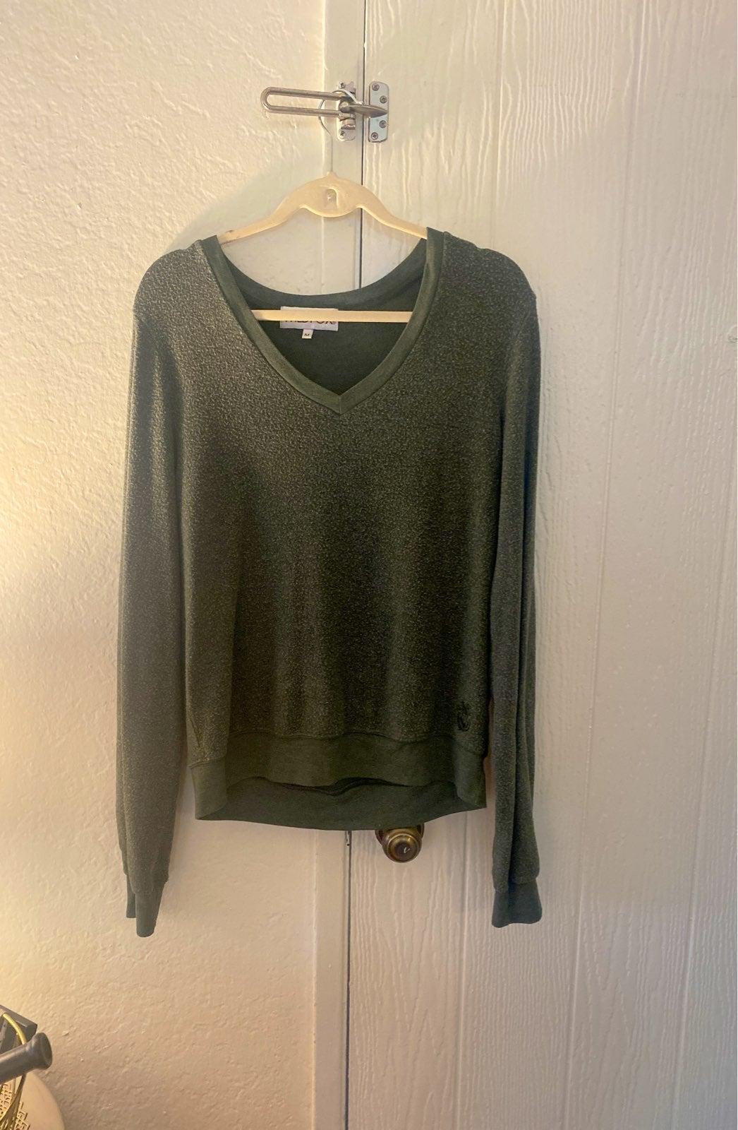 Wildfox V-Neck Jumper Sweater M Green