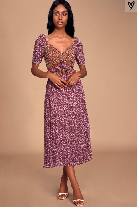 Plum Purple Floral Print Ruffled Midi Dr
