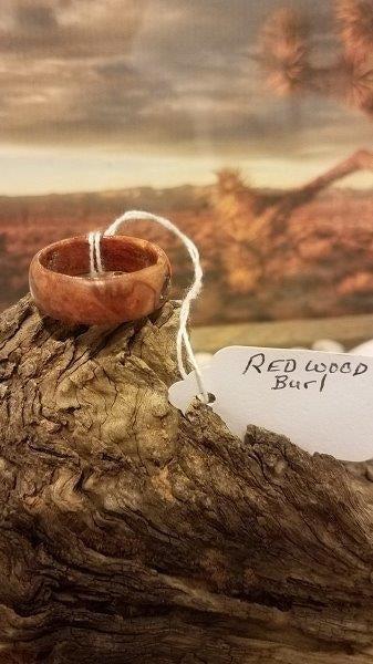Redwood Burl Hand Carved Wood Ring