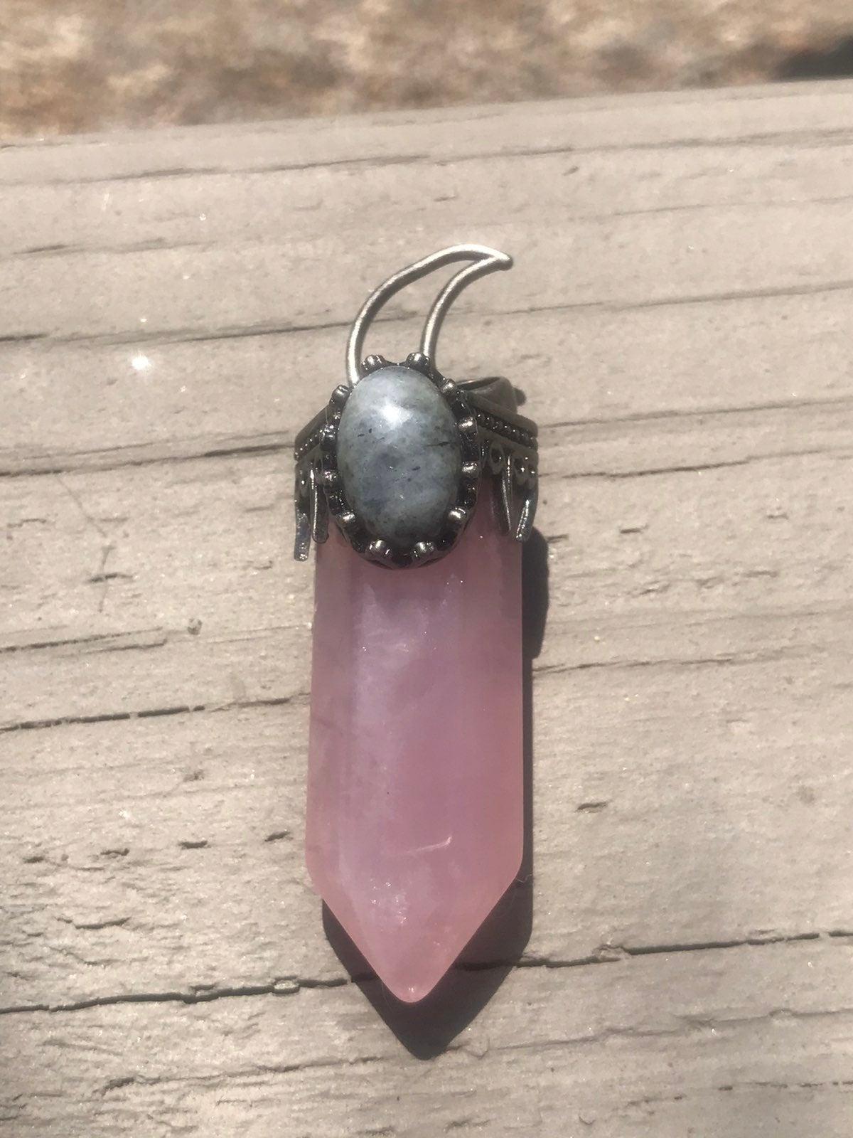 Rose quartz Labradorite Crystal pendant