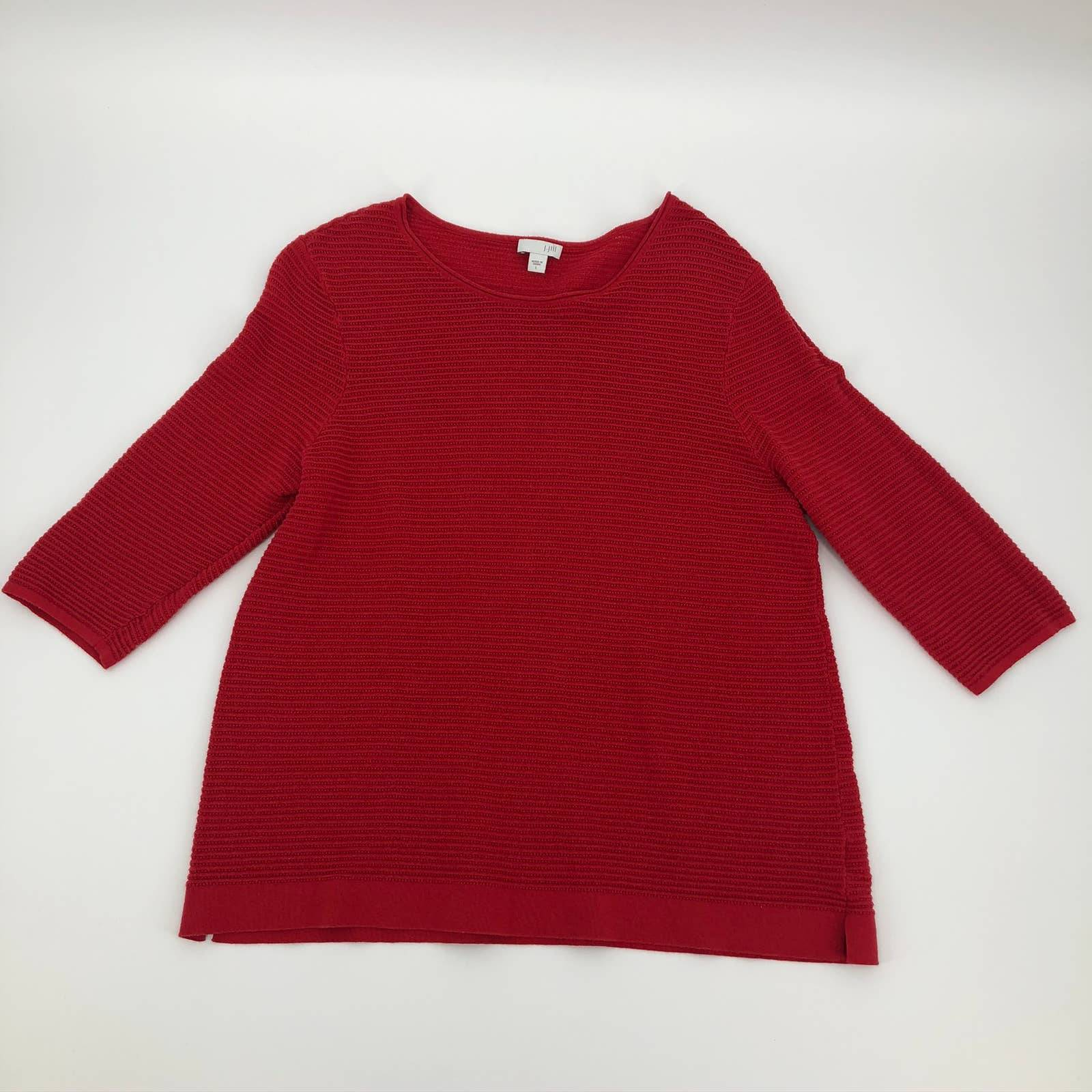 J. Jill Large Red Open Knit  Sweater