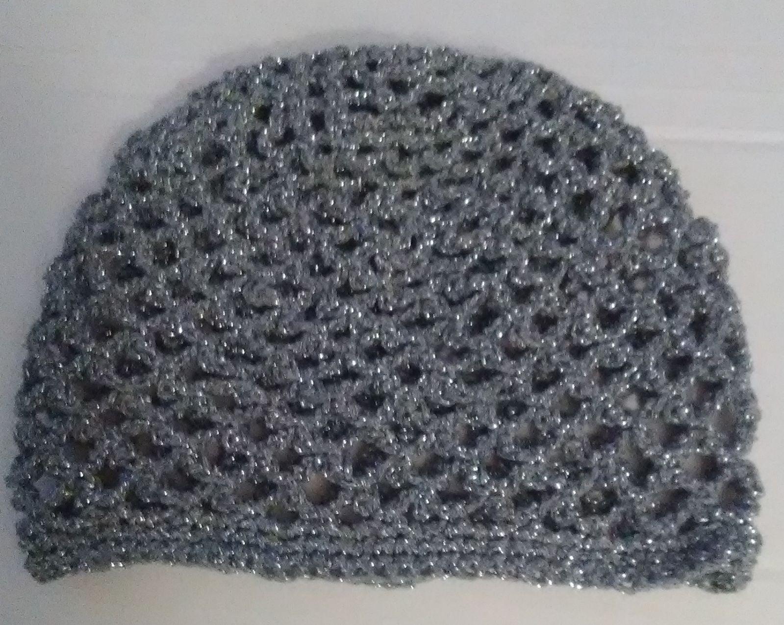 Silver juliette cap, mesh crochet