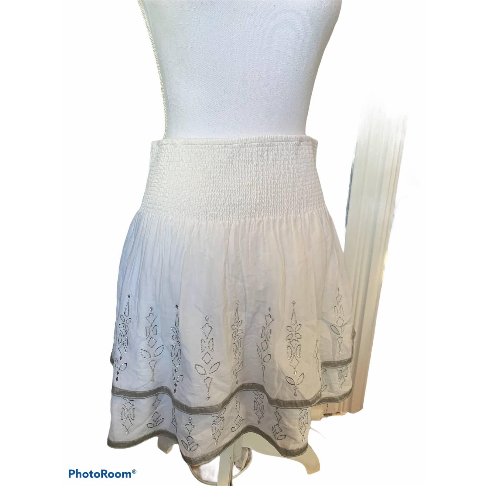 WHBM white cotton silk pull on skirt M