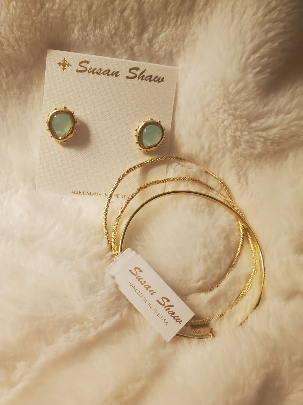 Susan Shaw Earrings + Gold Bangles