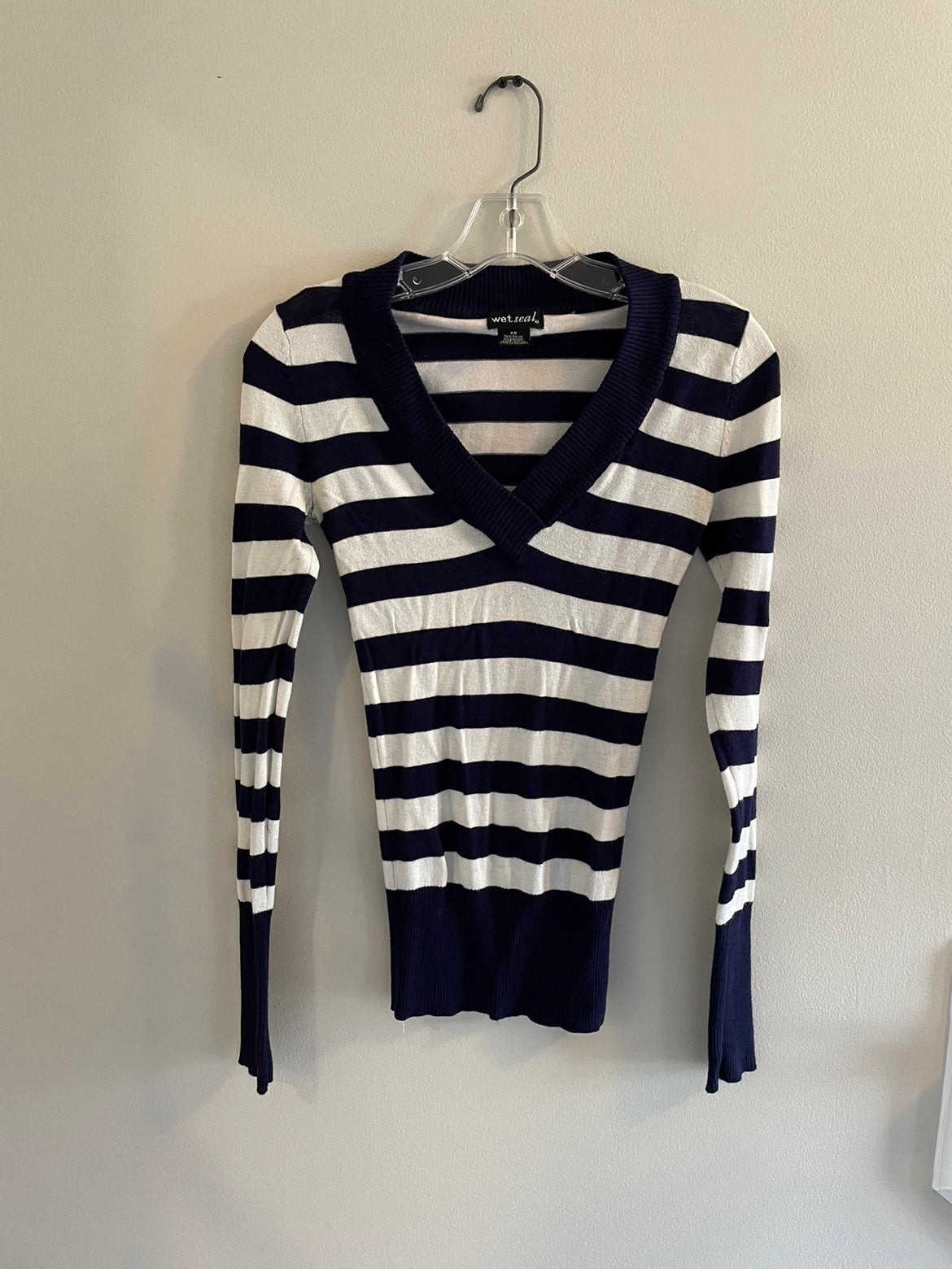 WET SEAL NAVY/WHITE STRIPE SWEATER TOP