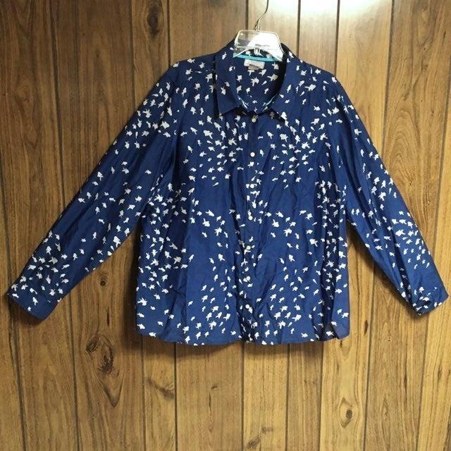 Blue Goldfish Button Cotton Silk Shirt 2