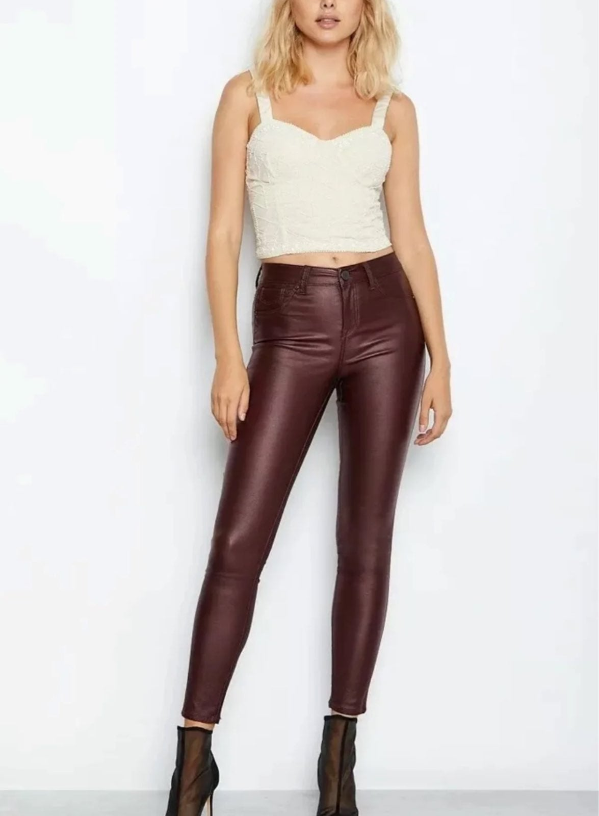 High Waist Coated Skinny Jeans