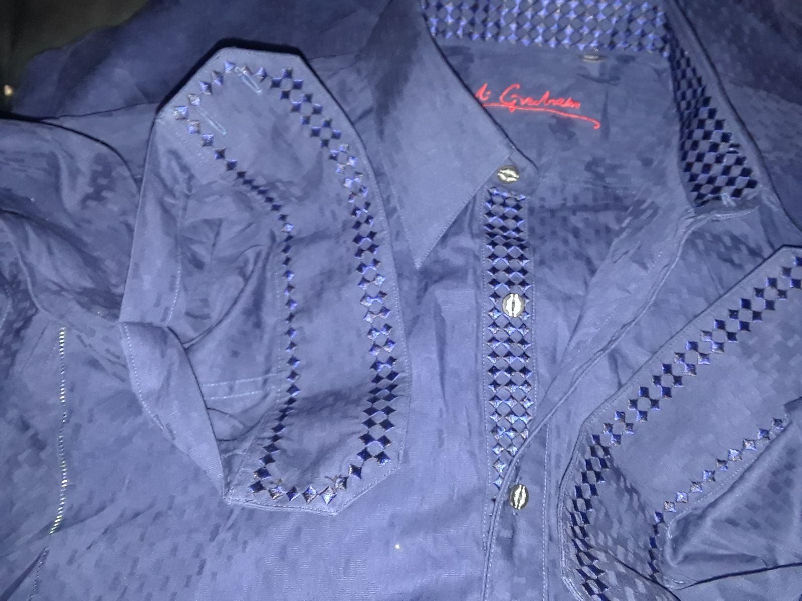 Robert Graham Blue Embroidered Shirt XL