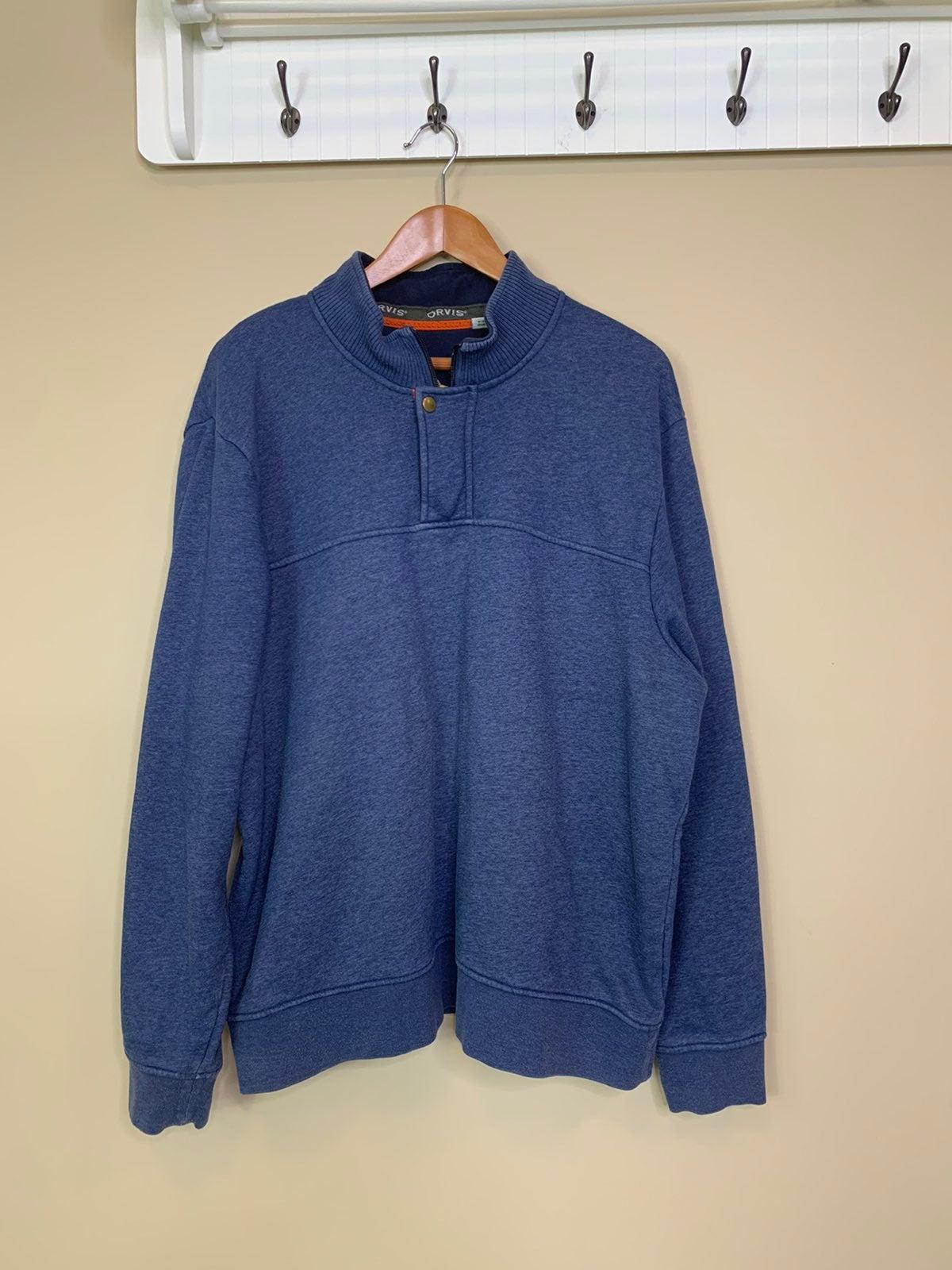 Orvis 1/4 Zip Fleece Lined Blue Pullover
