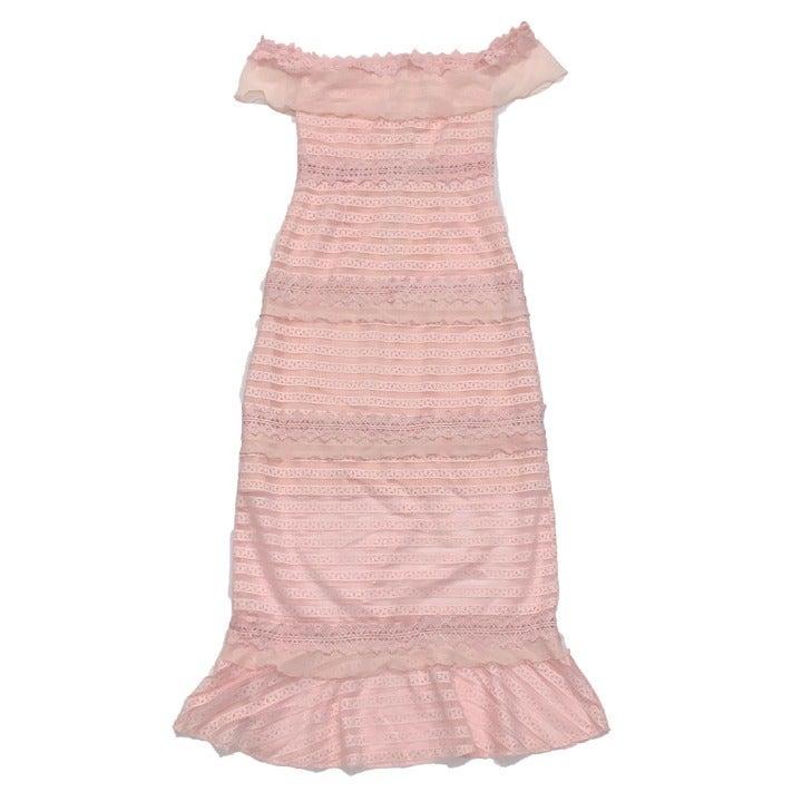 Foxiedox Off Shoulder Stripe Lace Dress