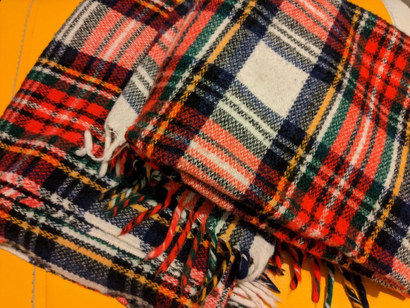 Pair of vintage plaid blankets