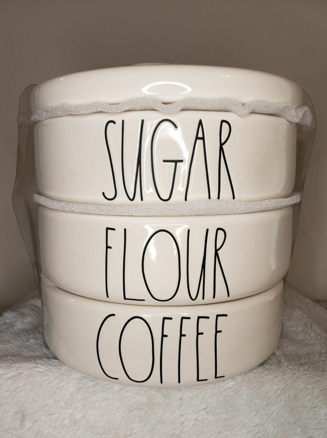 Rae Dunn Sugar, Flour and Coffee Stack