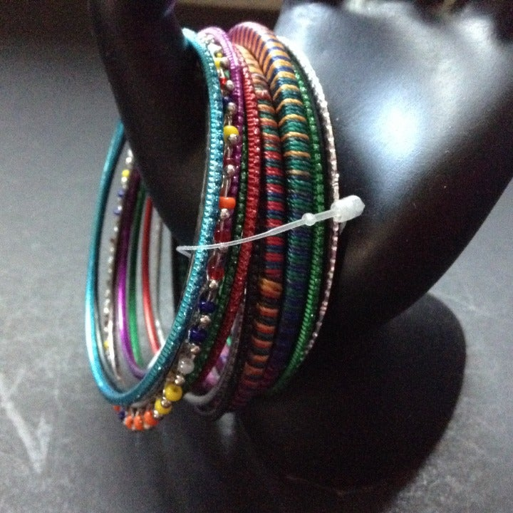 12 Bangle Bracelets Colorful Hippy Boho
