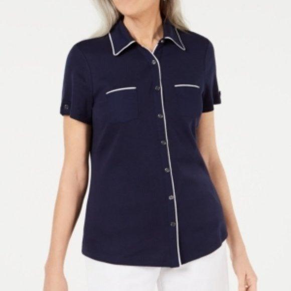 NWT Karen Scott Button-Front Shirt - Blu