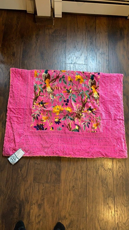 Karma Living Pink Velvet Bird Throw Wool