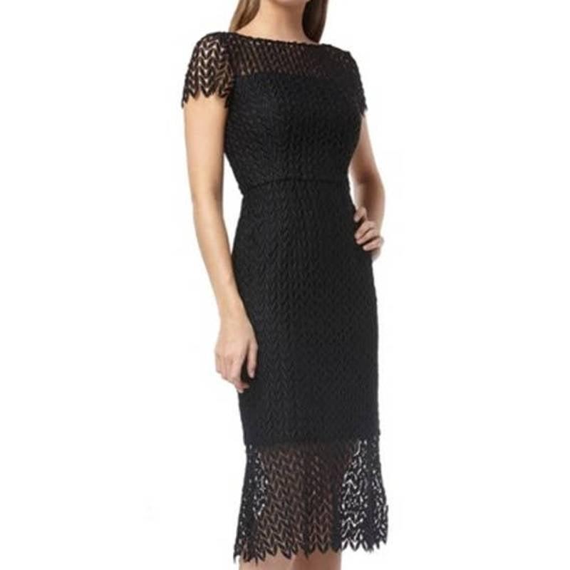 Kay Unger Tatum Floral Lace Midi Dress