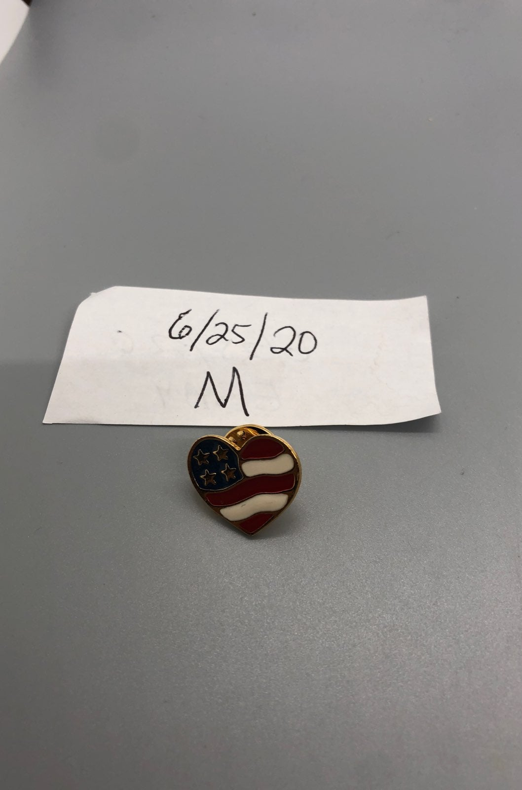 Avon heart flag pin