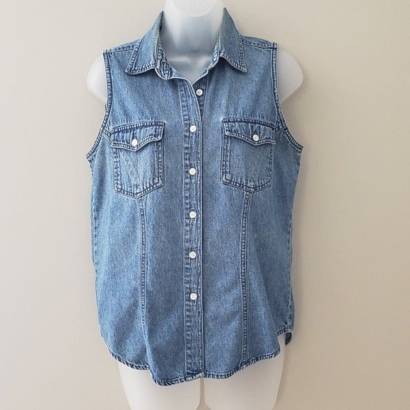 VTG Denim Sleeveless Button Up Top