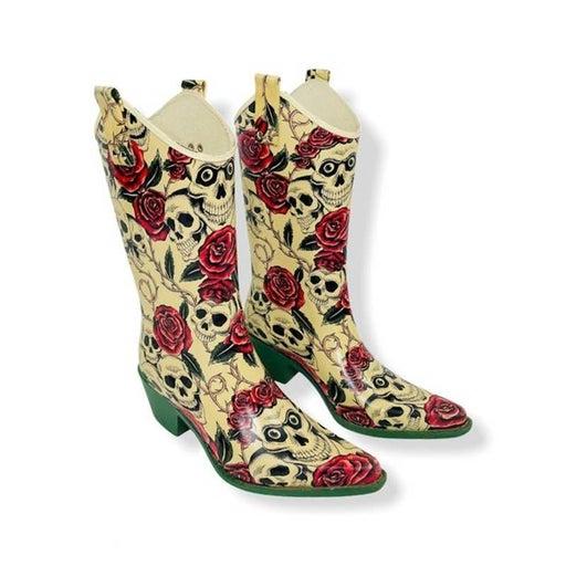 Nomad Skulls & Roses Rubber Rain Boots 9