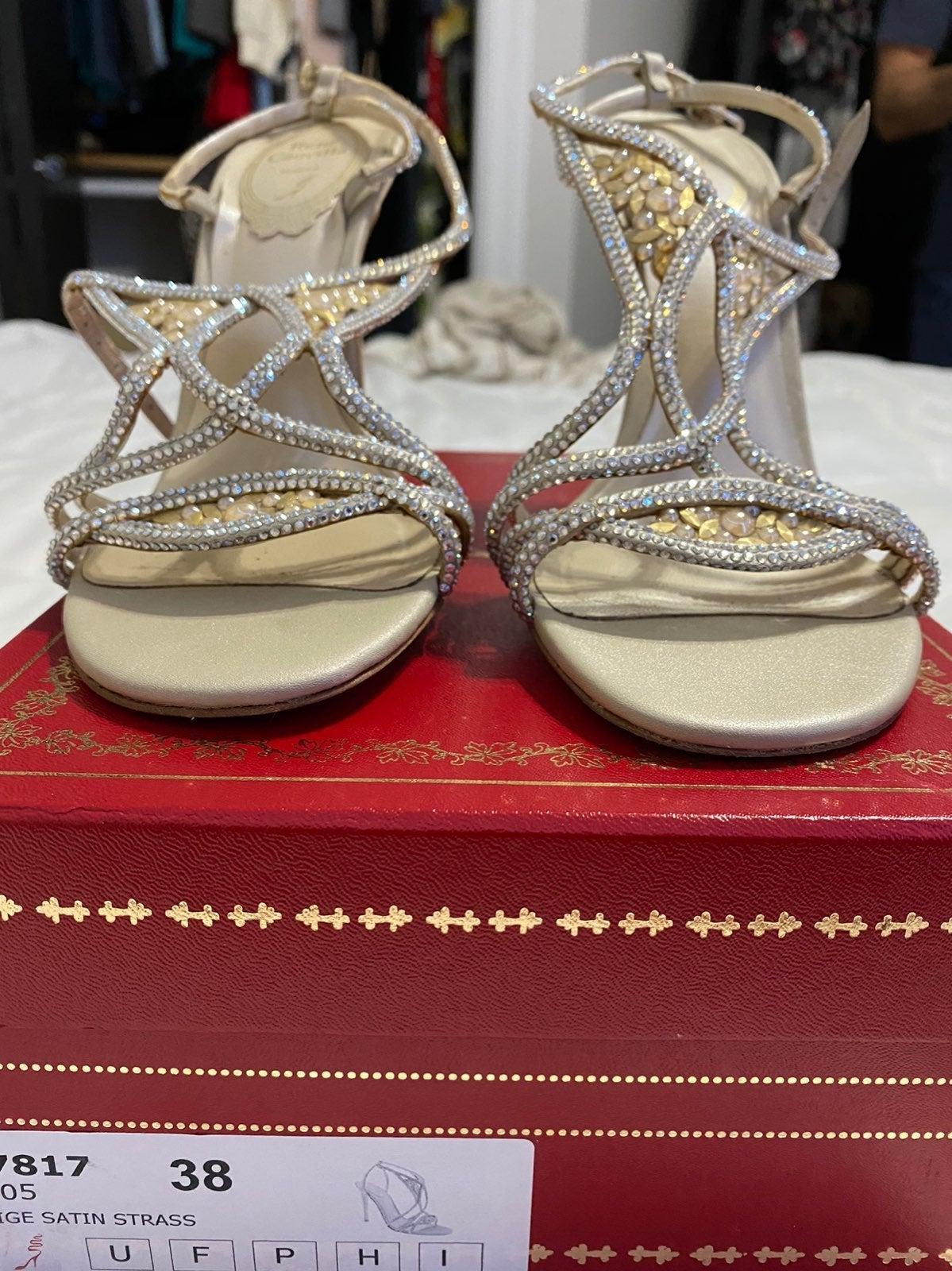 Rene Caovilla satin strassed heels 38