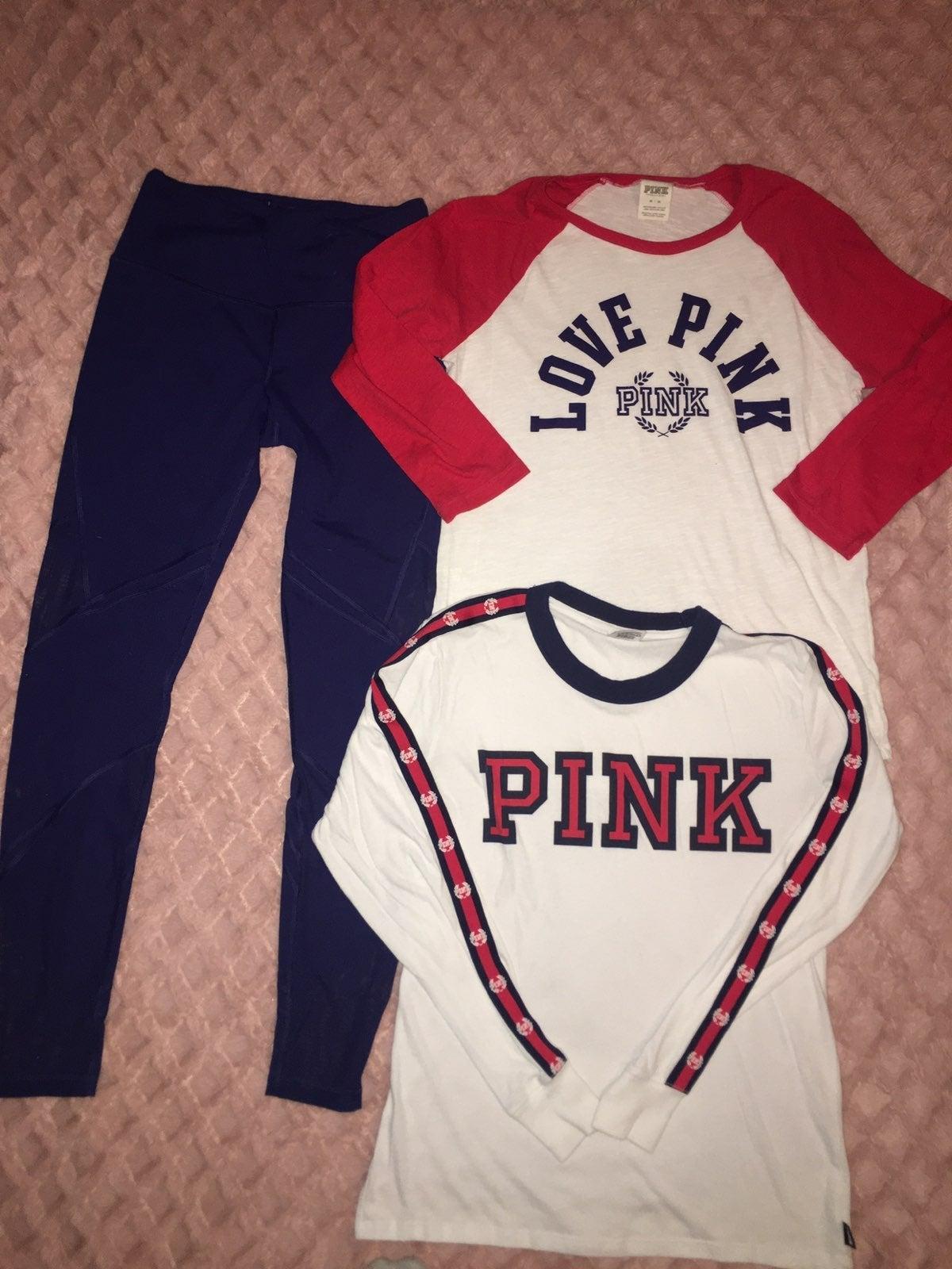 Vs pink tees tops mesh leggings set xs