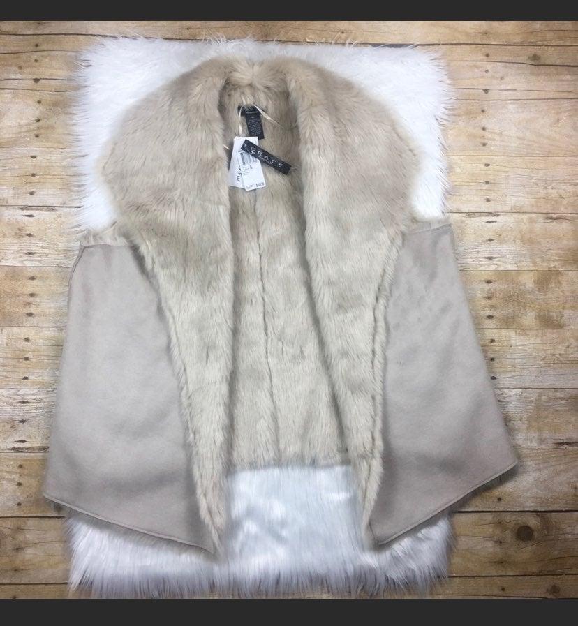 Grace Faux Suede Faux Fur Vest NEW