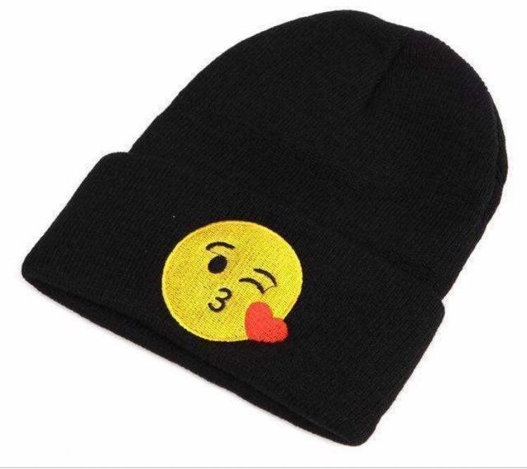 Kiss Emoji Black Knit Beanie Hat