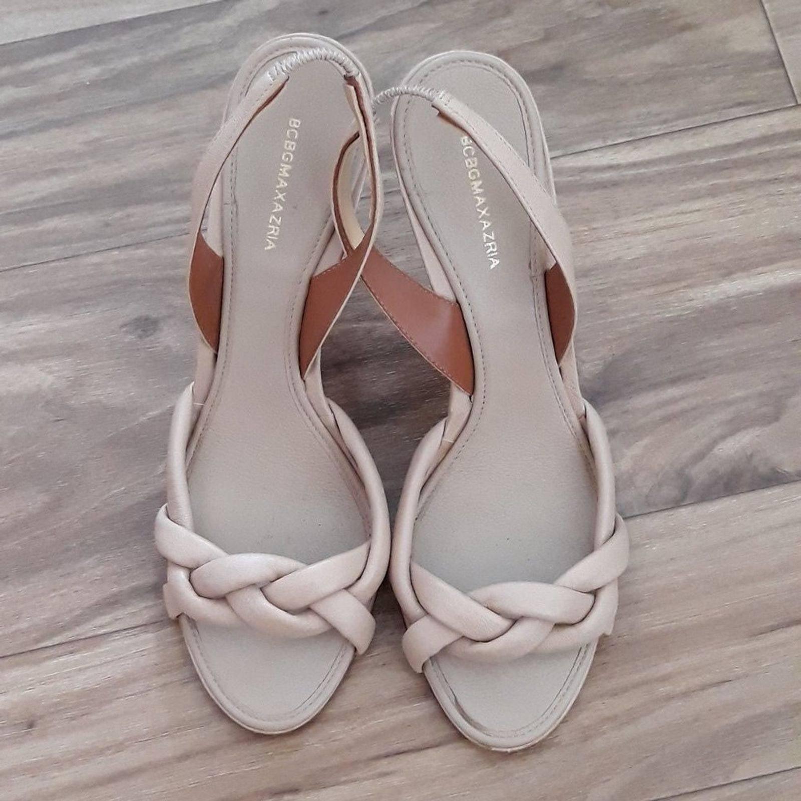 BCBGMaxAzria Tan Braided Heel Sandals