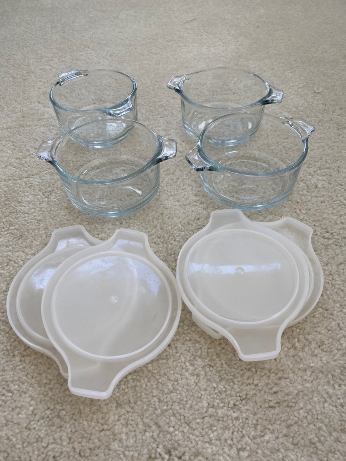 Set of 4 Glass Dishes with Lids