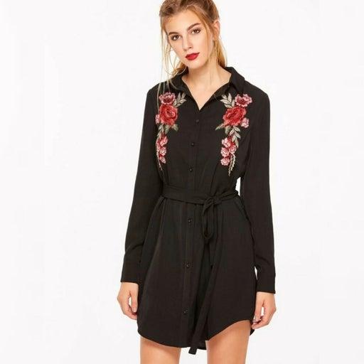 Rose Embroidered Belt Shirt Dress M/L