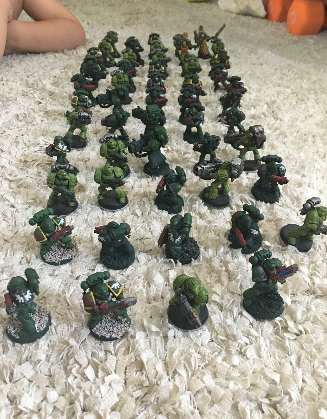 Warhammer 40k Minis. Green-yellow-red th