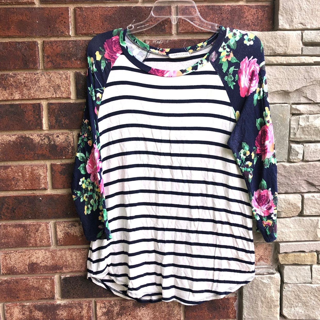 First Look Striped Floral Shirt Women L
