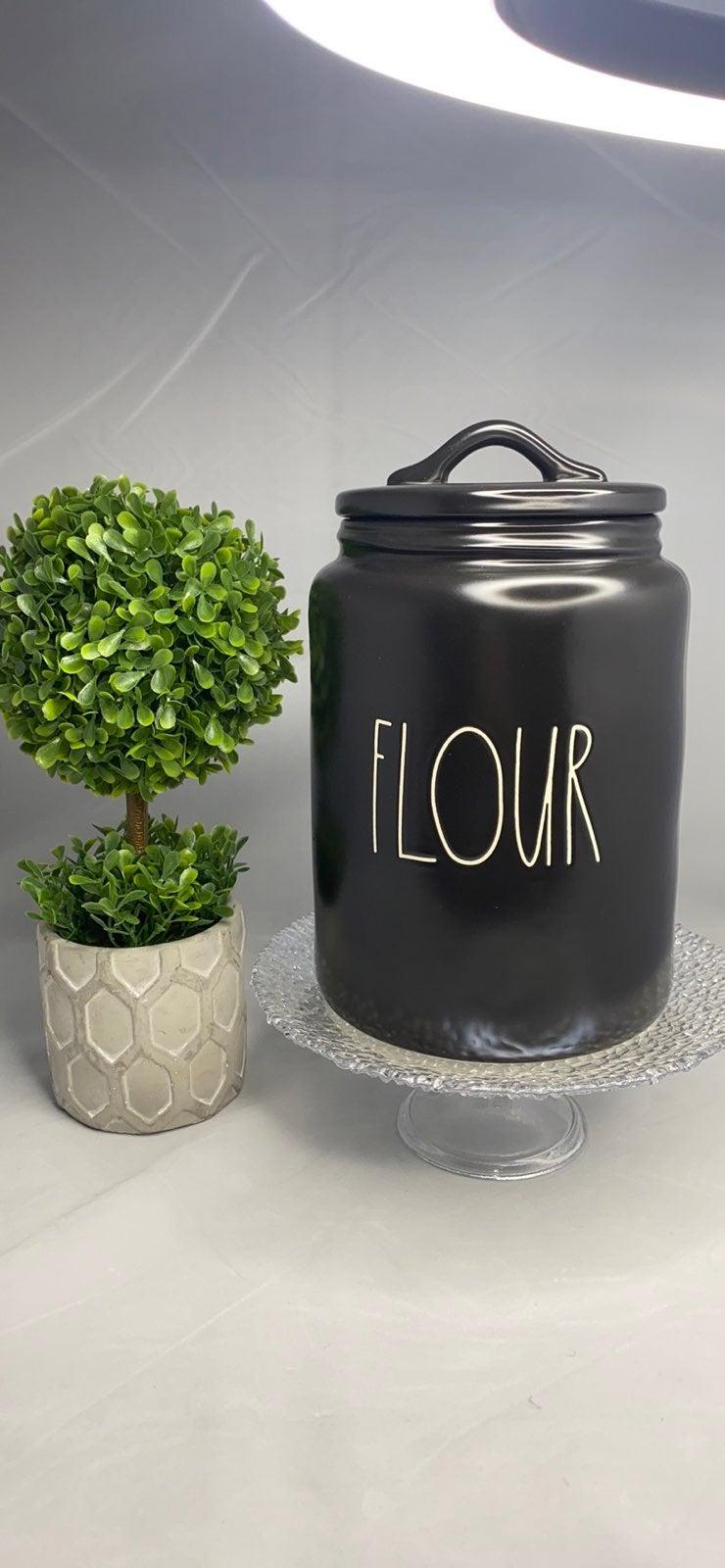 Rae dunn black flour canister NEW