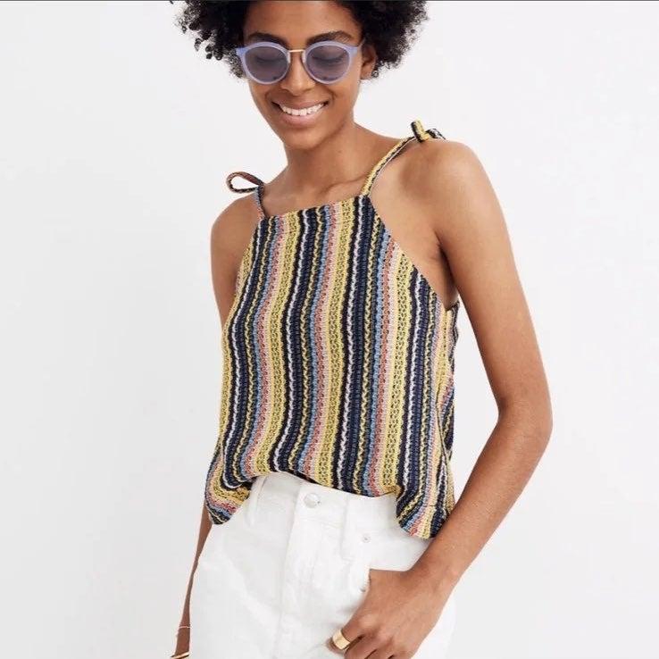 Tie-Shoulder Tank Top in Rainbow Crochet
