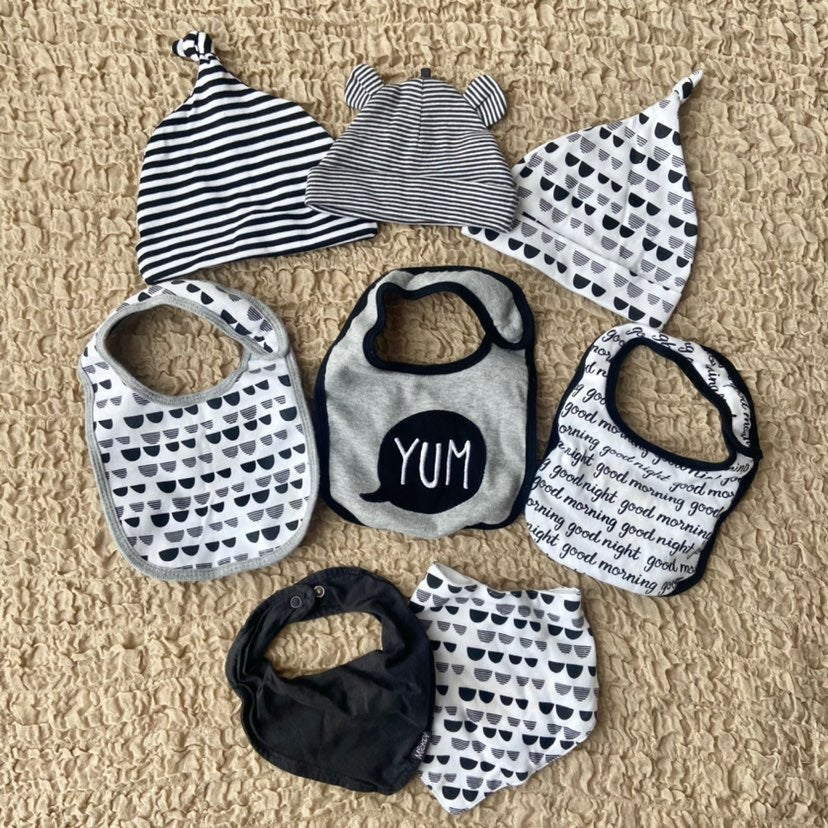 Baby Black & White Hats & Bibs Bundle