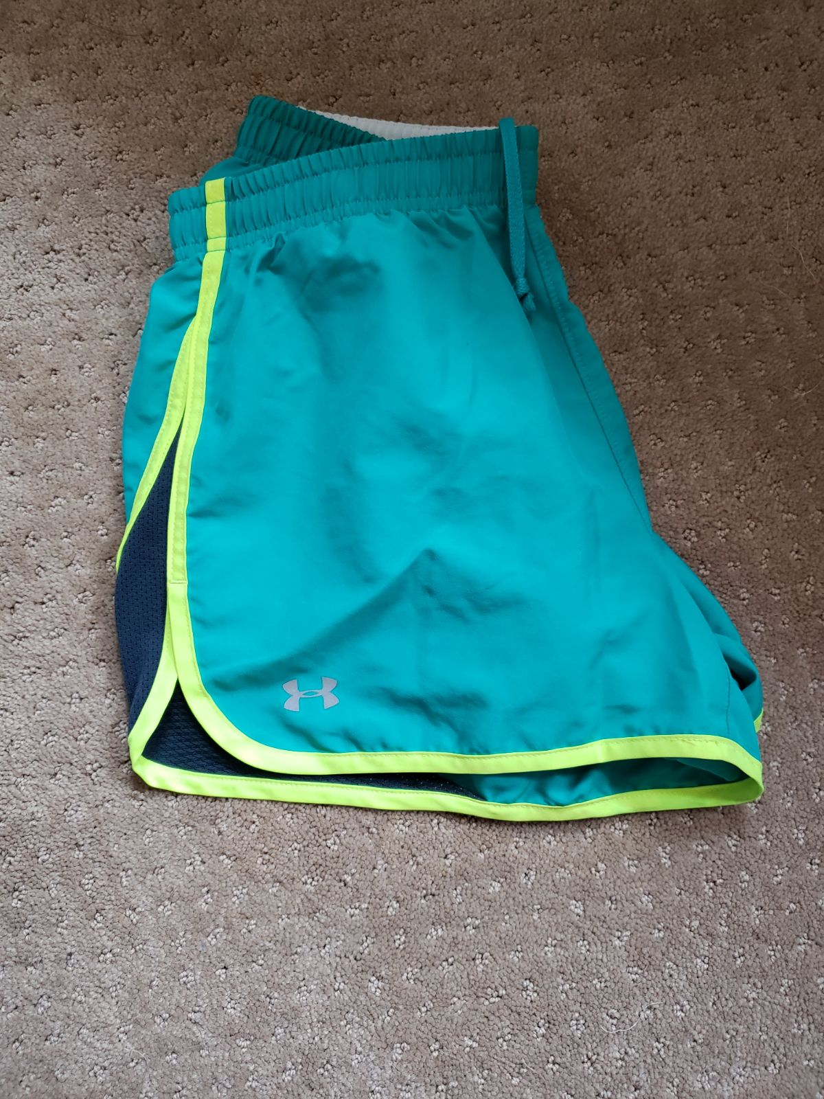 Teal womens Under Armour running shorts