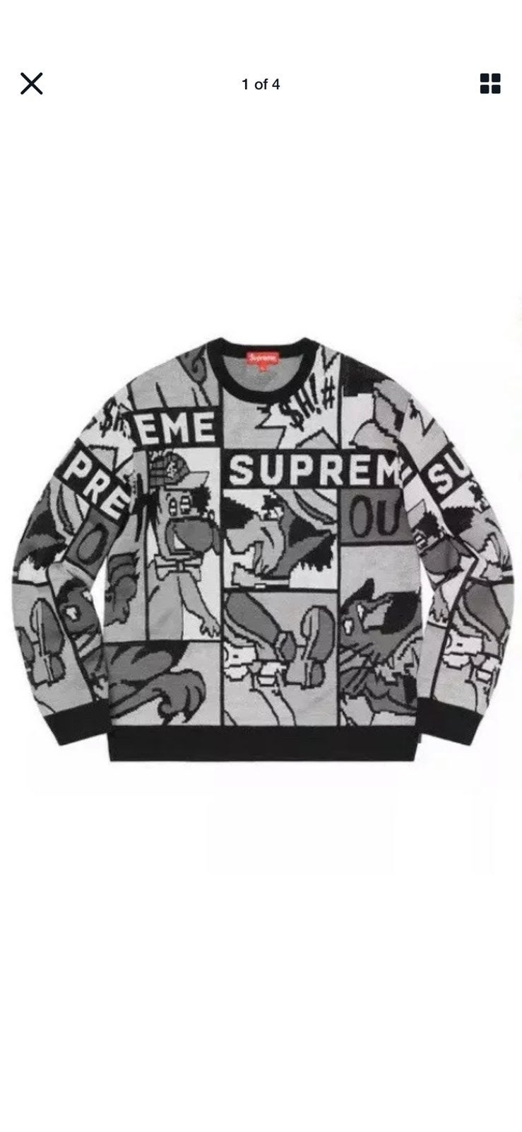 Supreme Cartoon Black Sweater XLarge SS2