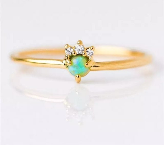 Gold opal diamond dainty stackable Ring