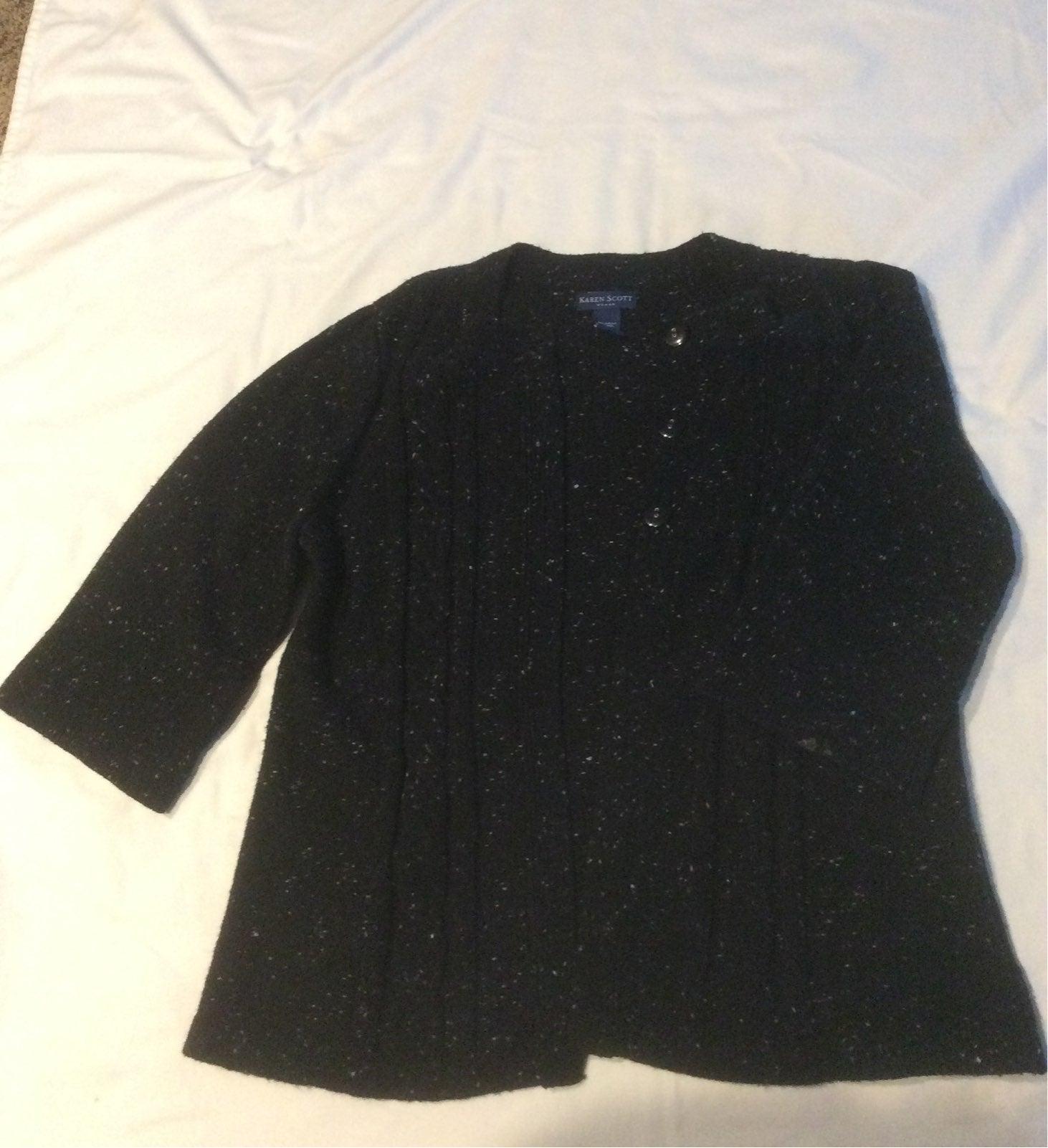 Karen Scott black cardigan 1X