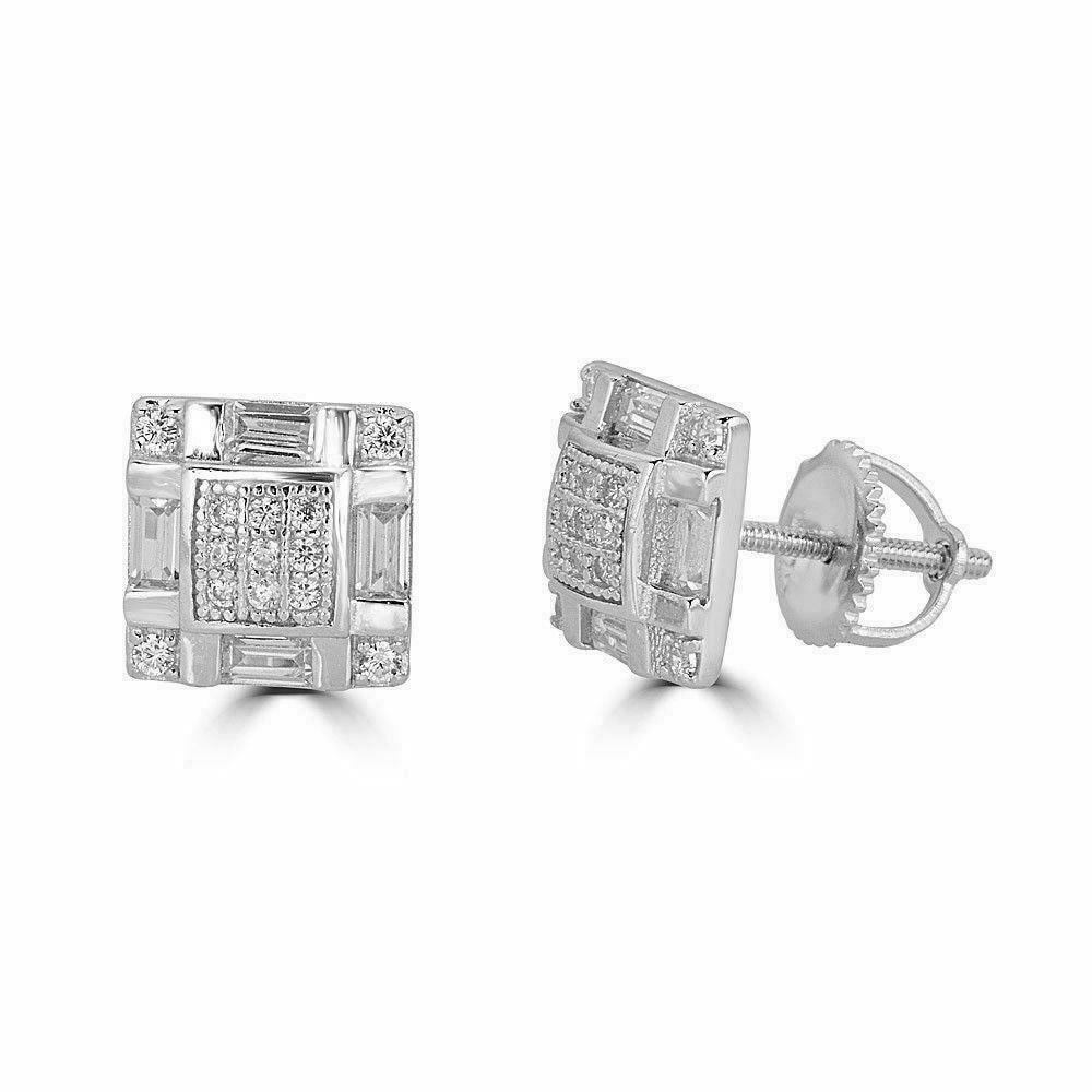 925 Silver Baguette Diamond Earrings