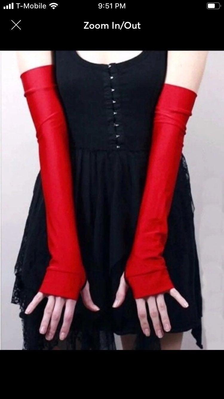 Red Spandex Halloween Costume Gloves