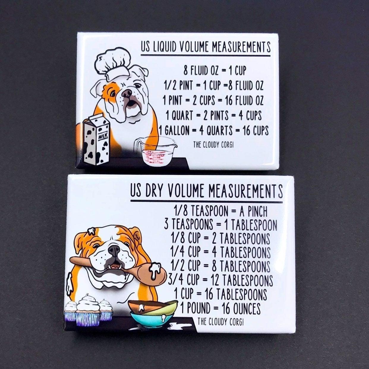 English Bulldog Kitchen Measuring Charts