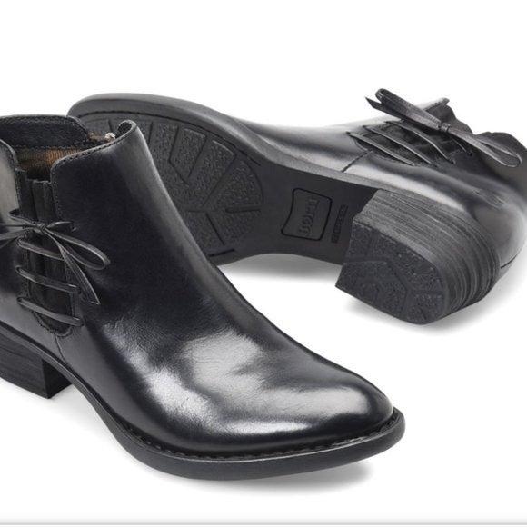 BORN Bowlen Black Leather Ankle Boot SZ 10