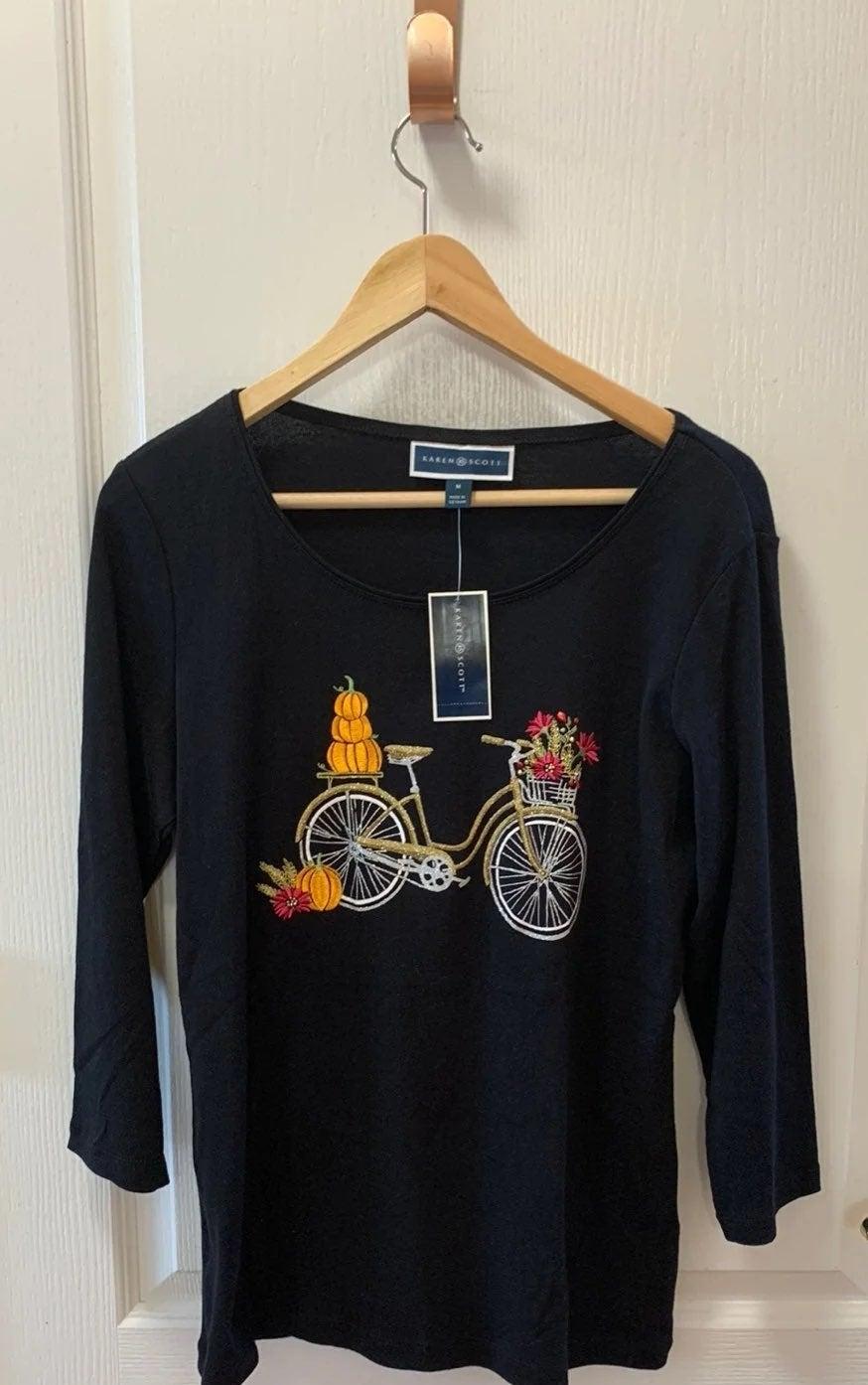 Karen Scott Halloween Embroidered Bicycl